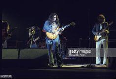 Lynyrd Skynyrd perform live on stage in New York in October 1976 L-R Allen Collins, Ronnie Van Zant, Gary Rossington, Steve Gaines