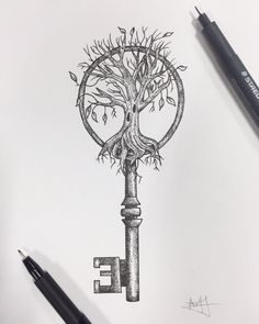 "Pointillism drawing from today ""Learn how to see. Realise that everything connects with everything else"" Leonardo Da Vinci // Melissa Malice #Pointillism #Dotwork #TreeOfLife #VintageKey"