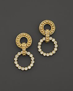 LAGOS 18K Gold and Diamond Double Circle Drop Earrings - @bloomingdales Exclusive | #100PercentBloomies #loveLAGOS