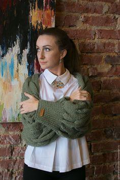 Купить Объемная накидка косами с рукавами/Болеро - кардиган вязаный, кардиган женский, кардиган ручной работы