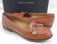 Women's Shoes Tommy Hilfiger LETYAN Flat Loafers Leather Medium Brown Size 8 #TommyHilfiger #LoafersMoccasins #Casual