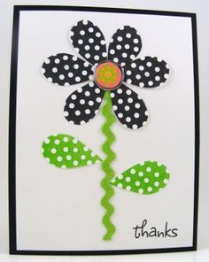 Flower and Rick rack card .