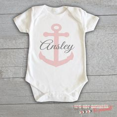 Baby Onesie - Anchor Nautical Monogram Personalized Customized Baby Name Initials