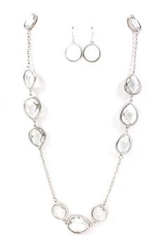 Long Silver Anatori Teardrop Necklace