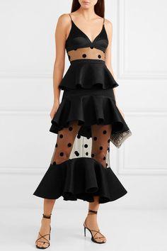 23ea2f4ea9fa4 David Koma   Tiered satin, polka-dot flocked tulle and cady midi dress