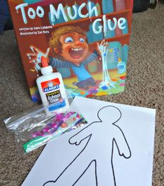 Too Much Glue book activity and preschoolers craft