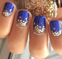 Chunky gold glitter ombre manicure idea.