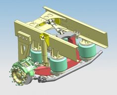 Ginaf SensAxle+ voorloopas voor DAF 8×4 | 3D detail tekening van de GINAF SensAxle+ voorloopas