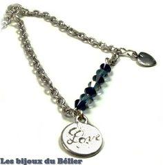 Bracelet romantique en laiton avec toupies Swarovski : Bracelet par les-bijoux-du-belier
