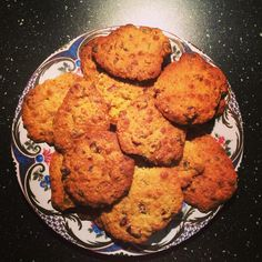 Home made oatmeal cranberry cookies with chocolate chips and pistachio nuts