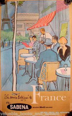 SOLD! Original Vintage Travel Poster SABENA Airlines FRANCE Paris Nearly Fine c1960