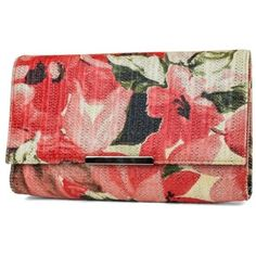 Jessica Mcclintock Floral Nora Floral Flap Clutch ($45) ❤ liked on Polyvore featuring bags, handbags, clutches, floral, floral print purse, red clutches, flower print handbags, red purse and flap clutch