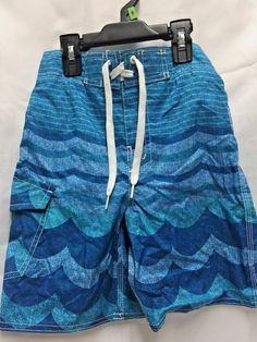 a2e160c640e05 Joe Boxer Swimsuit Blue Boys Size 8 Ocean Wave Design Outside Side Pocket