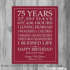 75th Birthday Party Ideas For Mom