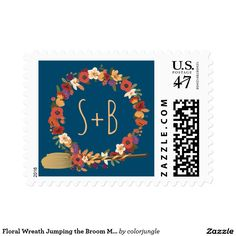 Floral Wreath Jumping the Broom Midnight Monograms Stamp