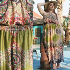 Vintage 70's Gypsy Boho Maxi Dress (Ethnic Bohemian Loose Floral Tunic Hippie Prairie XL L Pregnant Pregnancy Maternity Plus Size Dress)