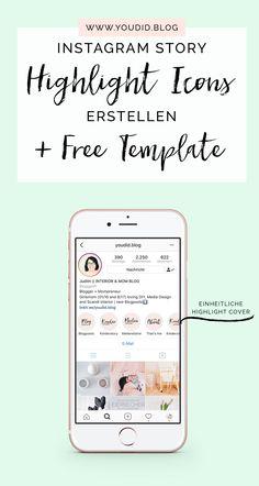 Einheitliche Instagram Highlight Cover erstellen + Free Instagram Story Highlight Icon Template