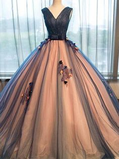 Pretty Tulle Prom Dress,v-neck Applique Prom Dress,A-line Long Evening Dresses ,ball Gown Ball Gowns Wedding Prom Dresses, Formal Evening Gowns . Ball Gown Dresses, Prom Party Dresses, Quinceanera Dresses, Dress Prom, Dress Long, Dresses Dresses, Quinceanera Decorations, Dress Vestidos, Quinceanera Party