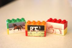 Animal Mix Up Legos.Make your own Lego Puzzles to help the little ones, while they have fun playing. Good for matching as well as eye to hand coordination putting them together. Motor Activities, Preschool Activities, Legos, Farm Unit, Farm Theme, Tot School, Lego Duplo, Early Childhood Education, Kids Learning