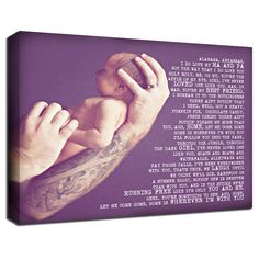 tattoo sleeve and baby Personalized Baby word art photo on Canvas by Geezees...love this!