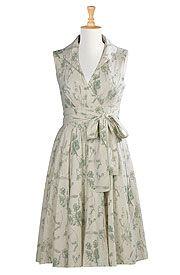 Washed floral cotton linen dress