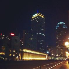 Prudential at night from the Christian Science Center