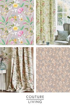 In the spirit of spring, the timeless trend of florals has resurfaced. Browse through a plethora plant-based prints in both classic and modern styles on Couture Living's website. Painting Wallpaper, Room Wallpaper, Floral Curtains, Floral Fabric, Cottage Art, Cottage Ideas, A Frame House, Made To Measure Curtains, Designer Wallpaper