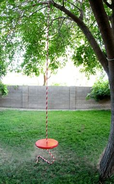 Building the simple rope swing really is super easy – you just need a few supplies! You picked up the round pine panel, some paint, and the rope at Lowe's.