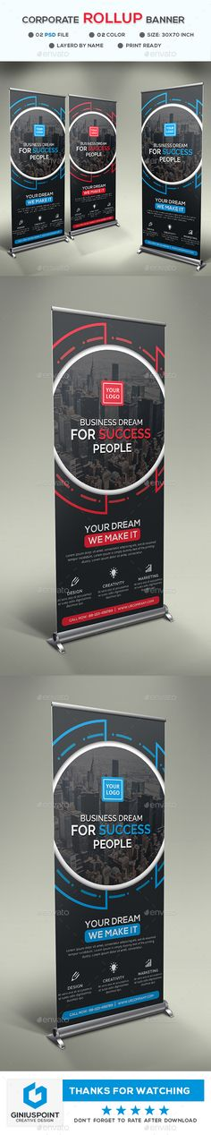 """Corporate Roll-Up Banner by GeniusPoint Features: Easy Customizable and Editable Size 30"""".25""""x70"""".25"""" in with bleed CMYK Color Design in 150 DPI Resolution Print Ready Fo"""