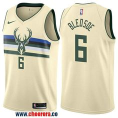 a42a0dcf2f6 Men s Nike Milwaukee Bucks  6 Eric Bledsoe Cream NBA Swingman City Edition  Jersey