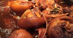 Pork hock braised in vinegar, soy sauce, brown sugar and more.See recipe below.