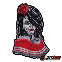 Sugar Skull Temptress Patch - 100% fully embroidered seductive looking lady dressed for the Day Of The Dead, with a sugar skull painted face, a red rose in her hair, wearing a typical Mexican folkloric red dress.
