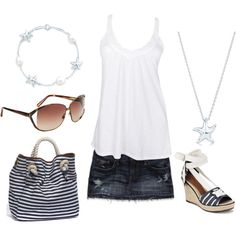 cute beach outfit, nice denim skirt, now I just need a beach. Cute Beach Outfits, Summer Outfits For Teens, Teen Girl Outfits, Casual Outfits, Fashion Outfits, Womens Fashion, Casual Chic, Dressing, Passion For Fashion