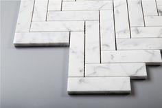 SAMPLE Carrera Carrera Bianco 1x4 Herringbone Natural Stone Mosaic