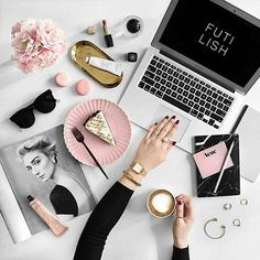 Flatlay Inspiration · via Custom Scene · Laptop with hand mockup surrounded by accessories with coffee and cake! Pink, white and black theme. Fall Inspiration, Flat Lay Inspiration, Motivation Inspiration, Fashion Inspiration, Photo Pour Instagram, Instagram 4, Estilo Blogger, Flat Lay Photography, Photography Ideas