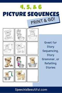 Speech therapy sequencing activity: Need picture sequences for your speech and language therapy sessions? These picture sequence cards are great for sequencing a story, story grammar, or retelling stories. Includes quality, hand-drawn clip arts. - Sarah Wu, Speech is Beautiful