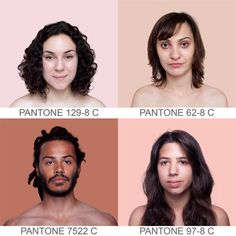 Brazilian artist Angelica Dass created the visually stunning project Humanæ, where she matches skin tone to a PANTONE® color. The ongoing portraiture project takes a sample of 11×11 pixels of the model's face and then matches it to the exact PANTONE® tone. The background is then dyed to the exact tone.