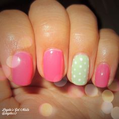Lovely and Simple Spring Gel Nails with accent mint polka dot nail