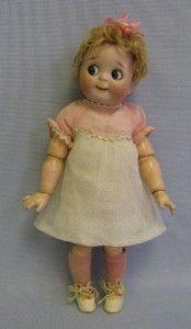 """11"""" Antique Doll KESTNER #221 JDK GOOGLY c1910 Slant-Hip Toddler, Factory Outfit"""