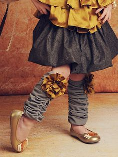 Gold and Gray Leg Warmers