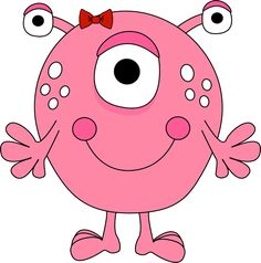 free cute monster clip art | Girl Monster Clip Art Image - pink girl monster with three eyes, white ...