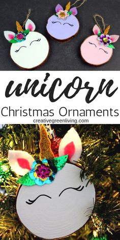 Espectacular Learn how to make unicorn Christmas ornaments from wood slices! This tutorial is. Learn how to make unicorn Christmas orna. Christmas Wood Crafts, Christmas Crafts For Kids To Make, Christmas Ornaments To Make, Diy Christmas Gifts, Holiday Crafts, Christmas Decorations, Christmas Makes To Sell, Handmade Christmas, Christmas Tree