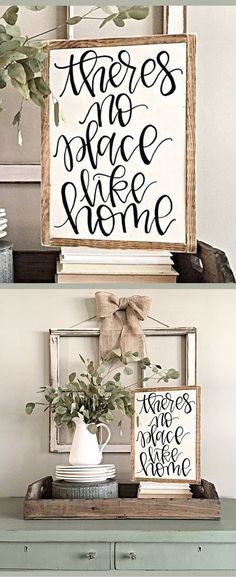 Theres No Place Like Home | Hand Painted Sign | Rustic Wood Sign | Home Decor | Gallery Wall Decor | Living Room Rustic Decor | Rustic Sign | Farmhouse Decor | Farmhouse sign | Housewarming Gift Idea #ad