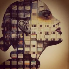 Strike a pose at Hotel Zetta with this one of a kind artwork made up of floppy disks #reduce #reuse #repurpose #recycle http://interioren.net/index-6.html