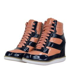 Jeffrey Campbell Napoles Womens Wedge Hi Top Trainers AW12 Navy/Pink from www.hypedirect.com Navy Pink, Jeffrey Campbell, Hiking Boots, Combat Boots, Trainers, Wedge, Footwear, Lady, Sneakers