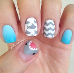 The color is the most important part of a girl nail. You can pick some light color and put some cute desing on it. Here we have the collection of the most cute and girly nail designs ever. Enjoy and be inspired! Cute Nail Art, Nail Art Diy, Blue Nails, My Nails, Shark Nail Art, Cruise Nails, Animal Nail Art, Beach Nails, Beach Nail Art