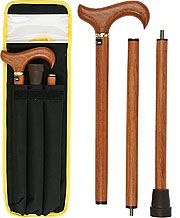Fashionablecanes.com  Rosewood 3 Piece Folding Derby Walking Cane With Rosewood Shaft and Brass Collar