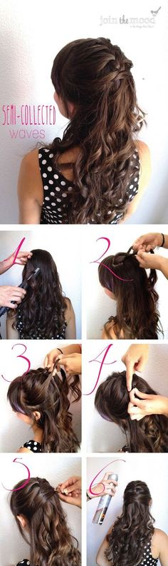 This is pretty creative: waves, half-french braid, but instead of tying it with a band or barrette, its hidden bobby pins :)