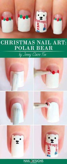 10 Charming Christmas Nail Art Tutorials You'll Adore: #5. Christmas Nail Art: Polar Bear; #christmasnailart; #nailart; #nailtutorial