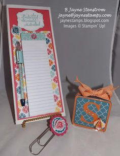"Convention roommate gifts - altered file folder, matching pen, jumbo paper clip, and personalized mini frame.  This set was made with the ""Quatrefancy"" specialty designer series paper."